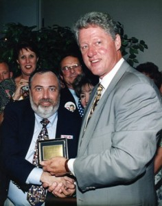 President Bill Clinton and Dr. Burton S. Schuler foot specialist, podiatrist, foot doctor of Panama City Fl 1996